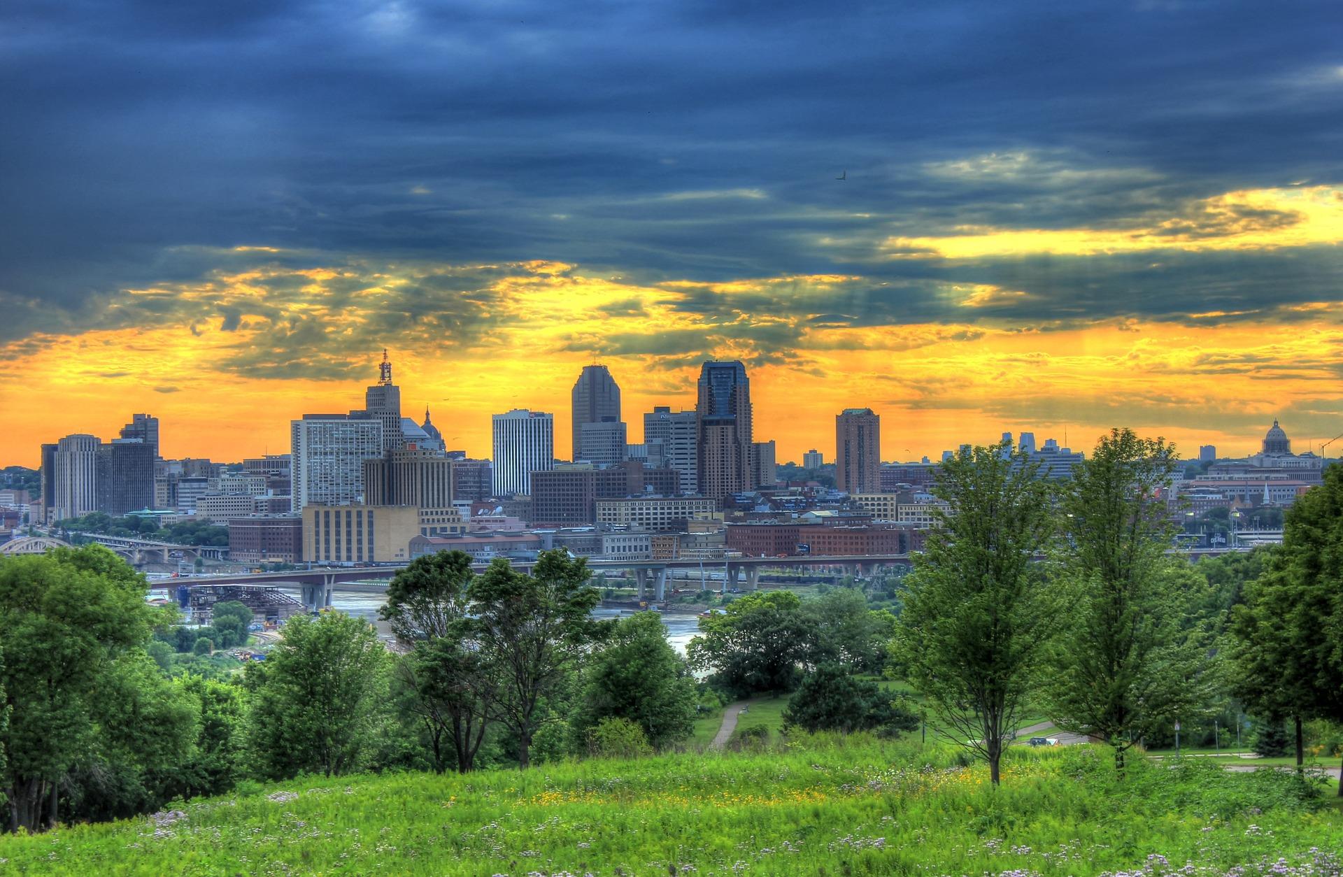St. Paul city skyline from distant.