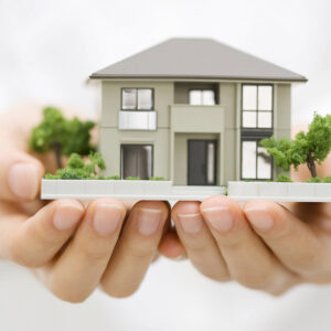 Hands holding miniature model of house.